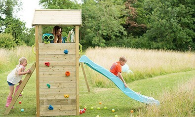 LOOKOUT TOWER WOODEN CLIMBING FRAME WITH SWINGS  4